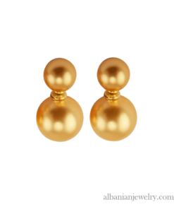 18 karat gold plated double pearl earrings with 2 gold pearls