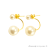 Double pearl earrings, gold colored with white beads
