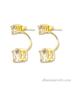 18 karat gold plated double diamond earrings