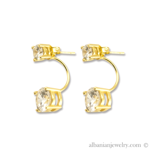 18 karat gold plated double diamond earrings
