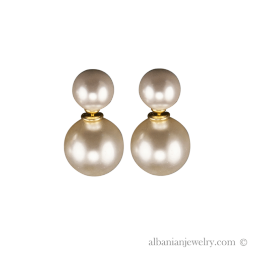 Double pearl earrings with 2 freshwater pearls