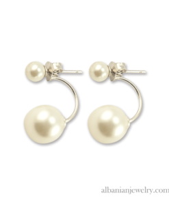 Double pearl earrings, silver with white pearls