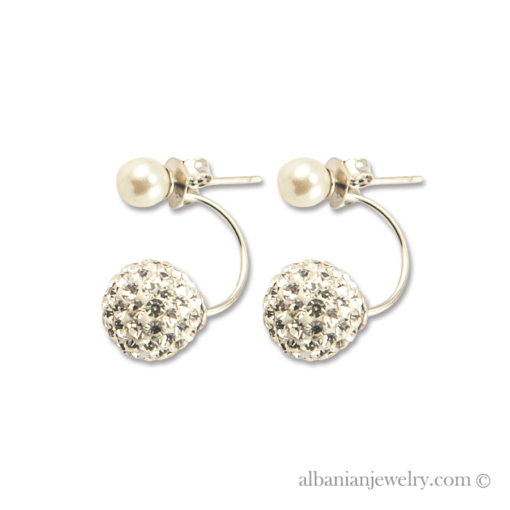 Double pearl earrings, silver with white pearl and zirconia