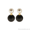 Double black and white pearl earrings