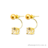 Double earrings with gold pearl and diamond
