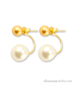 18 karat gold plated double gold and white pearl earrings
