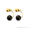 Double gold and black pearl earrings