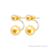 Double pearl earrings with 2 gold pearls