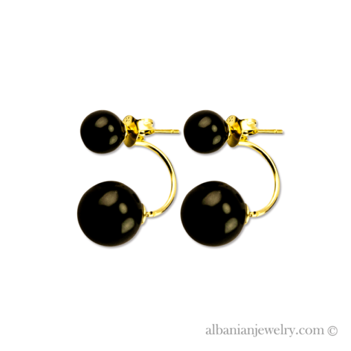 Double pearl earrings, gold colored with black beads