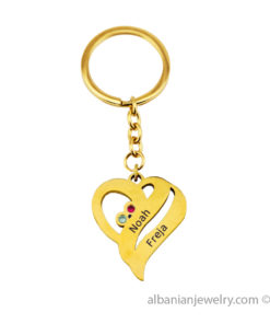18 karat Gold Plated Two Hearts Keychain