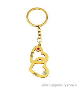 Gold Plated Engraved Vertical heart-to-heart keychain