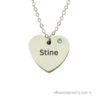 Heart necklace in silver with one name
