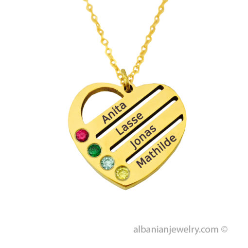 18 karat gold plated heart necklace with 4 names