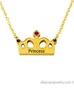 18 karat gold plated crown necklace