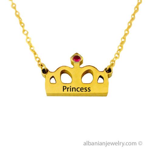 18 karat gold plated crown necklace