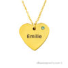 18 karat gold plated heart necklace with one name