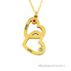"18 karat gold plated ""double heart"" necklace"