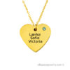 18 karat gold plated heart necklace with three names