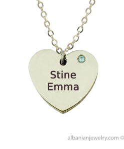 Heart necklace in silver with two names