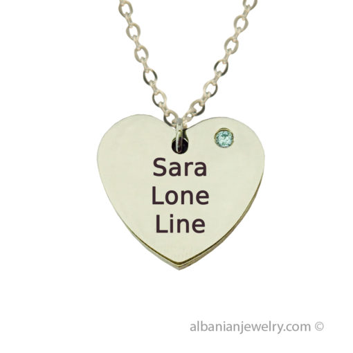 Heart necklace in silver with 3 names