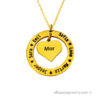 18 karat gold plated circle heart necklace