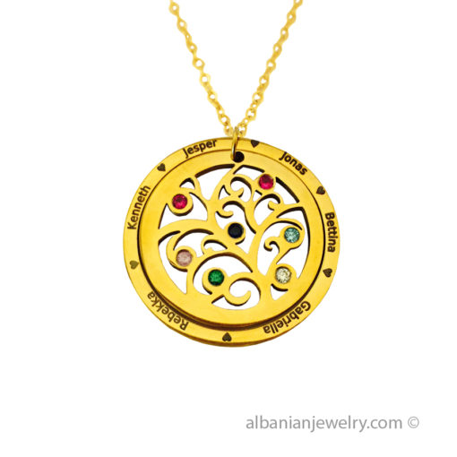 18 karat gold plated family necklace