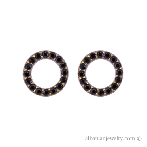 18 karat gold plated circle earrings with black zirconia