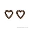 18 karat gold plated heart earrings with black zirconia