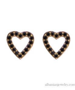 18 karat gold plated heart earrings with black zirconia