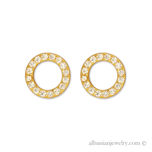 18 karat gold plated circle ørresikker with white zirconia