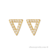 18 karat gold plated triangle earring with white zirconia