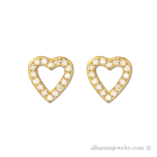 18 karat gold plated heart earrings with white zirconia