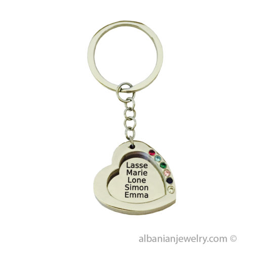 Heart up to 7 Names Keychain