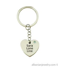 Personal Heart with Swarovski Stone Keychain