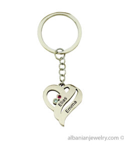 Two Hearts Keychain in Silver