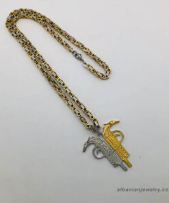 Albanian eagle necklace - Pistol shaped half silver half gold