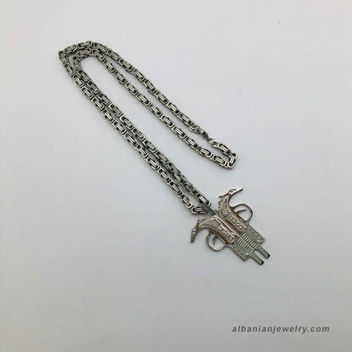 Albanian eagle necklace - Pistol shaped in silver